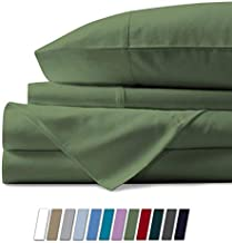 1000 Thread Count Sheet Set King Size Sage 100% Egyptian Cotton 4 Piece Sheets & Pillowcase Set 17 Inch Extra Deep Pocket Fitted Sheet Flat Bedsheet 2 Pillow Cases Solid Hotel Luxury Sheets