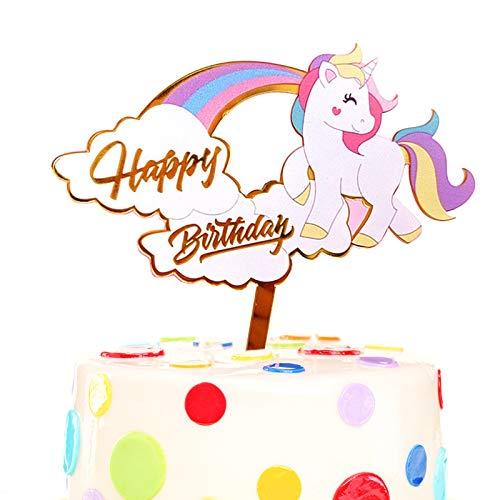 Yisika Decoracion Tarta Unicornio,Decoracion para Tartas Infantiles,Torta de Cumpleaños Cupcake Toppers para Niñas,Mujeres,Decoraciones para Tartas de Cumpleaños