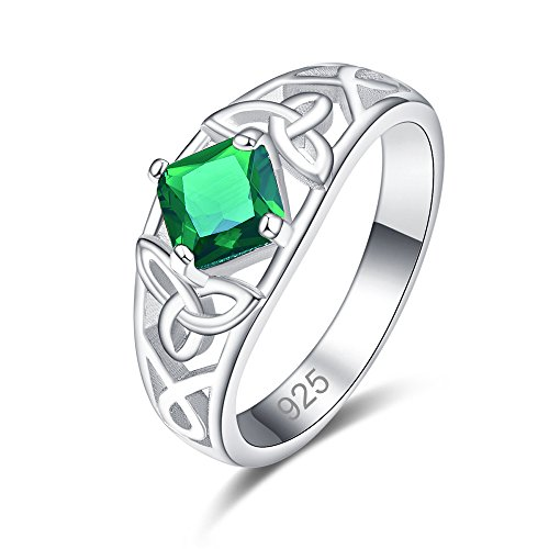 Psiroy 925 Sterling Silver Created Emerald Quartz Filled Princess Cut Irish Celtic Knot Band Rings for Womens Size 9