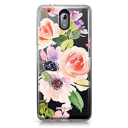 CASEiLIKE Nokia 3.1 Hülle, Nokia 3.1 TPU Schutzhülle Tasche Hülle Cover, Aquarell Blumen 2274, Kratzfest Weich Flexibel Silikon für Nokia 3.1