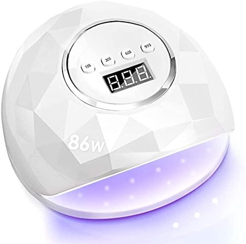 Janolia Secador de Uñas 86W LED UV Lámpara de Uñas de Gel con 4 Ajuste de Temporizadores para Esmalte en la Base de Gel para Uñas y Uñas de Los Pies con Sensor 10s 30s 60s 99s