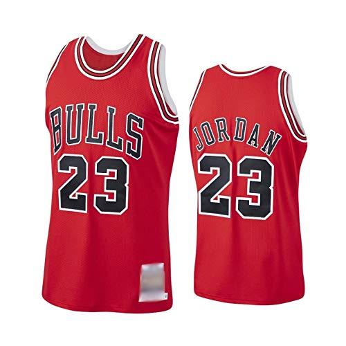 WOLFIRE WF Maglia da basket da uomo NBA Chicago Bulls #23 Michael Jordan ricamata, traspirante e resistente all'usura; maglia per fan rosso XL