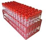 60 provette in polistirene, 100 x 16 mm, con tappo rosso e portaprovette
