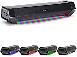 ENHANCE Attack Computer Sound Bar Speaker - Under Monitor Gaming PC Soundbar LED Speaker with 40W Peak Audio Power, 3 LED Color Modes + RGB Lighting, Dual Inputs for PC, Laptop and Phone AUX