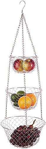 Cesta de fruta colgante de 3 niveles para cocina, cadena de alambre resistente, organizador de alimentos, caja de almacenamiento con ganchos para frutas, verduras, plantas, baño (color rosa