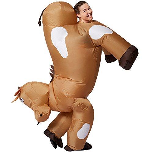 dressforfun Disfraz de Caballo Inflable Adulto | Funciona con Pilas | Máxima Libertad de Movimiento