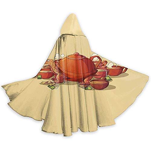Sobre-mesa Capa para Adultos Capa de té Tortuga de Tetera Tetera Tetera Capa con Capucha Capa para la Fiesta de Navidad de Halloween Disfraces de Cosplay Capas de Brujas