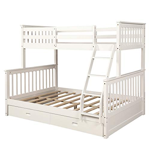 Bunk Bed Child Twin-Over Full Stairway Bunk Bed with Storage and Trundle Bed, No Box Spring Required, 01