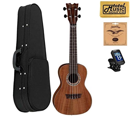 Dean Concert Ukulele, Koa Wood, Satin Natural, W/Soft Case,Tuner,Strings & PC