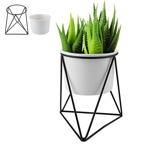 Vaso da Fiori in Ceramica, Fioriera Moderna con Triangolo Geometrico in Metallo per Piante da Giardino con Supporto per Espositore per Cactus Succulente(Vaso bianco + cornice nera)