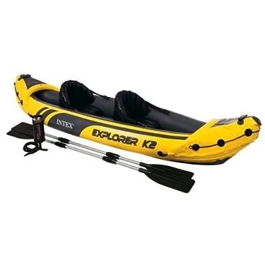 Intex Explorer K2 Yellow 2 Person Inflatable Kayak with Aluminum Oars & Air Pump