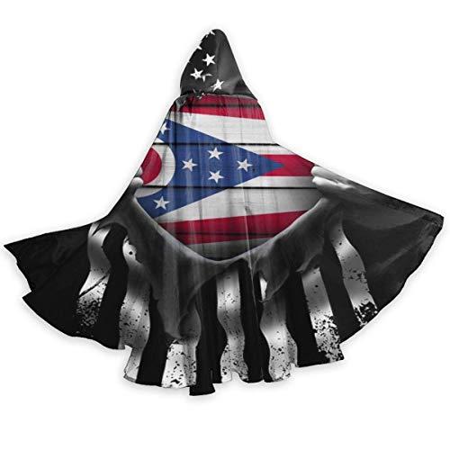 Capa de Capa para Adultos Bandera del Estado de Ohio Se Separa Capa con Capucha de Halloween de Cuerpo Entero Capa de fantasa de Navidad Disfraces para Mujeres Hombres