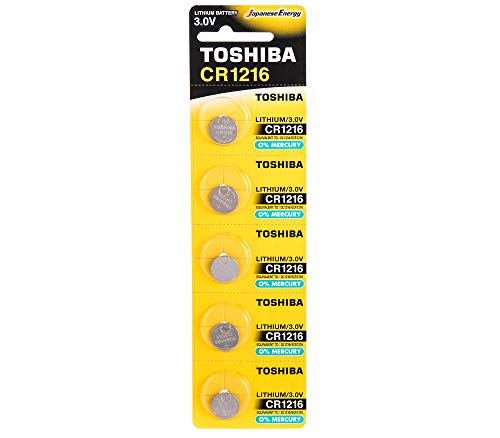 Toshiba CR1216 3V Lithium Coin Cell Battery Pack of 5