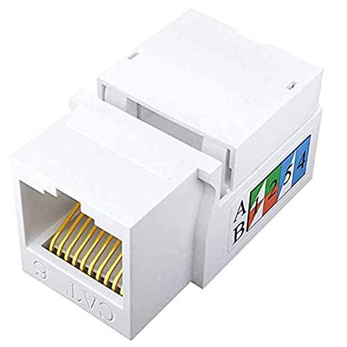 Fransande - Paquete de 50 enchufes RJ45 Cat6 a 90 grados Inserte tomas Ethernet UTP Cat6 UTP