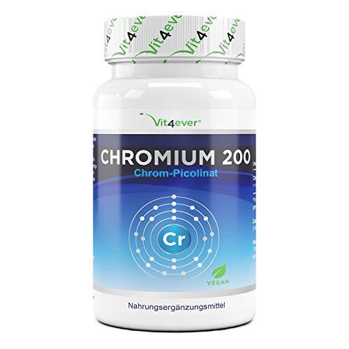Picolinate de chrome - 200 mcg de chrome pur par comprimé - 365 comprimés par an - Testé en laboratoire (teneur en principe actif et pureté) - Sans additifs indésirables - Hautement dosé - Végétalien