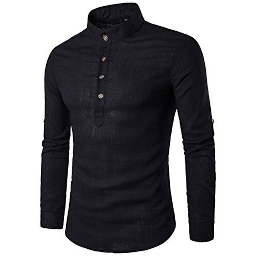 Zarupeng Herren Langarm Shirt, Einfarbig Slim Fit Poloshirt, T-Shirts aus Leinen und Baumwoll, Stehkragen Hemd Oberteile Pullover (L, Schwarz)