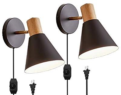 Wall Sconces Lighting Fixture,White Adjustable Bedside Wall lamp for Industrial Bedroom, Bathroom Sink Lighting (2 Pcs-Black-B/Switch)