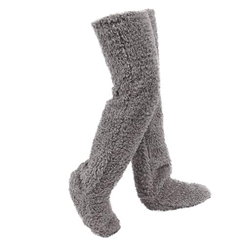 ルームソックスフットウォーマー極暖足が出せるロングカバー ストッパー付き レッグウォーマールームシューズ もこもこ ルームブーツ 足のサイズ23~25.5cm 長さ55cm 防寒 ルームソックス 男女兼用 あったか ボアスリッパ 可愛い 靴 おしゃれ 滑り止め (グレー)