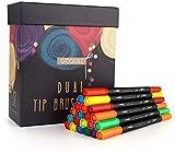 GC Feutre de pinceau aquarelle à deux pointes - 72 marqueurs de couleur avec pinceau et pointes de fineliner - la coloration, le dessin et la peinture - Pour les enfants et les adultes GC-72B