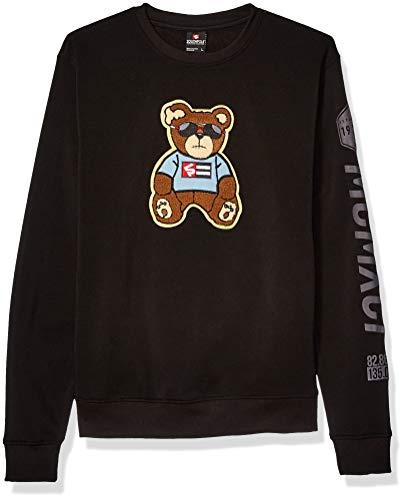 Southpole Men's Fleece Crewneck Sweatshirt, Black Bear, Large