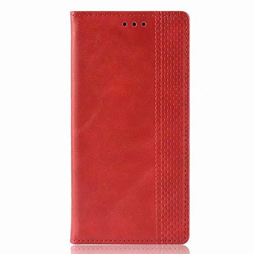 Ufgoszvp Funda para Huawei P50 Pro, 3D a prueba de golpes, piel sintética, con tapa, absorción de golpes, funda protectora magnética de poliuretano termoplástico con soporte para tarjetas, color rojo
