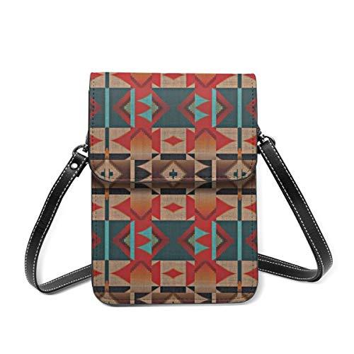 Small Shoulder Bag, Native American Indian Tribal Mosaic Rustic Cabin Pattern Crossbody Bag CellPhone Wallet Purse Lightweight Crossbody Handbags for Women Girl