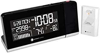 Ambient Weather WS-8460 Projection Clock with 256 Color Changing Ambient Temperature Display, Wireless Temperature and Barometer