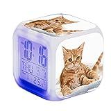 Sunshinelh - Sveglia con sveglia a LED per bambini, con sveglia a forma di gatto e gatto quadrato illuminato con schermo LCD, sveglia e sveglia con motivo gatto (j)