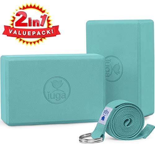 """IUGA Yoga Block (2PC) 9""""x6 x3 con Cinturino Yoga D-Ring in Metallo, Mattone Yoga ad Alta densità per Migliorare Resistenza, flessibilità ed Equilibrio, Superficie Antiscivolo Leggera per Lo Yoga"""