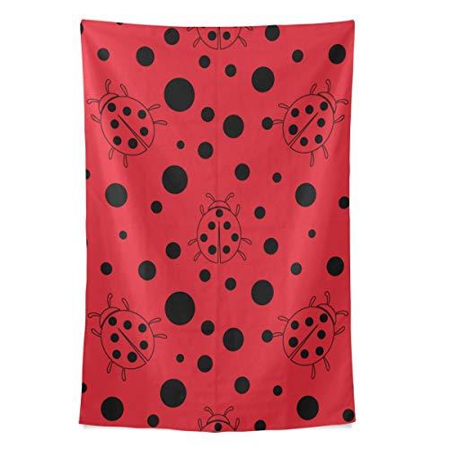 Zemivs Black Red Dot Ladybug Wall Tapestry Colgante de Pared Cool Post Print para el Dormitorio Casa Sala de Estar Dormitorio Colcha de Cama de Picnic Picnic de 80 x 60 Pulgadas