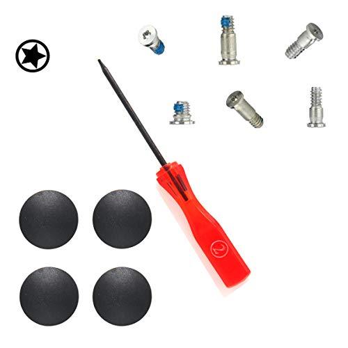 Padarsey Pentalobe Bottom Case Screws +4 Pack Rubber Case Feet+ Pentalobe Screwdriver Compatible for MacBook Retina 13-inch A1708 (Silver)