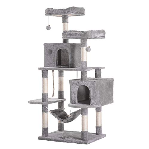 Hey-brother Large Multi-Level Cat Tree Condo Furniture with Sisal-Covered Scratching Posts, 2 Bigger Plush Condos, Perch Hammock for Kittens, Cats and Pets Light Gray MPJ020W