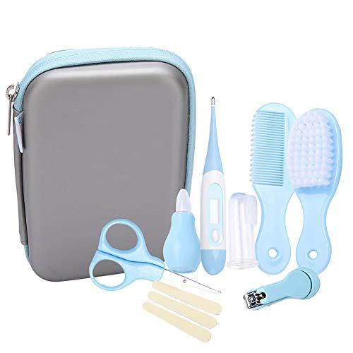 Babyverzorgingsset, 8-delige set voor baby veel comfortabele dagelijkse nagelknipper schaar haarborstel kam manicure verzorging kit blauw