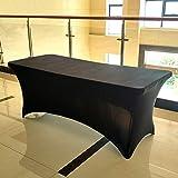 ele ELEOPTION Stretch Husse Rechteckige Tischhusse Premium Spandex Tischabdeckung Biertischhussen für 4 Fuß Tisch Waschbar Tischdecke für Küche Hochzeit Party Bankett (Weiß, 122 x 76 x 76 cm) - 7