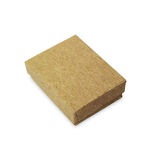Mooca 100 Pcs #11 Cardboard Paper Cotton Filled Boxes Gift Case for Small Earrings/Pendants or Gemstones, 2 1/8''W x 1 5/8''D x 3/4''H, Brown Kraft