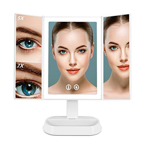Auxmir Espejo Maquillaje con Luz LED Aumento 1X/5X/7X Espejo Cosmético Iluminado, 90 Rotación, 3 Colores Brillo Luz Ajuetable, Recargable USB con Pila para Afeitado y Maquillaje, Blanco