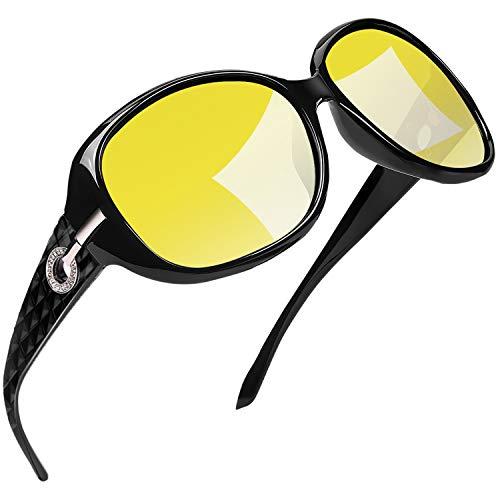 Joopin Gafas Visión Nocturna para Mujer Gafas de Sol Polarizados Deportivas Profesionales Gafas de Conducción Nocturna Protección 100% UV400 (Vista Nocturna)