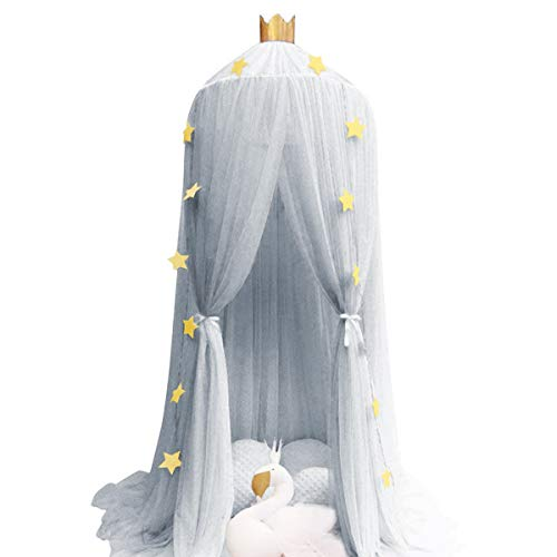 Dix-Rainbow Kid's Bed Canopies Yarn Crib Netting Princess Girls Bed Canopy Toddler Baby Crib Mosquito Net Curtains Mesh Lace Round Dome Crown Kids Play Tent Boys Reading Castle Game House Grey