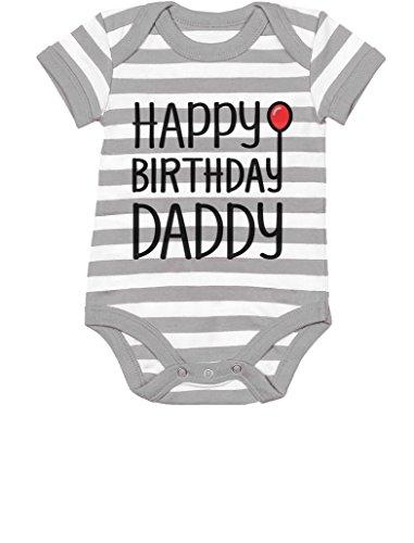 TeeStars - Happy Birthday Daddy Cute Boy/Girl Infant Dad's Gift Baby Bodysuit 12M Gray/White