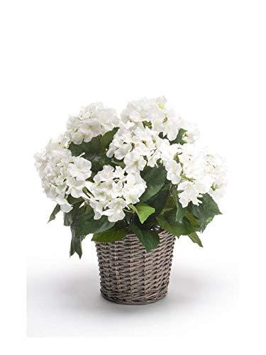 Artplants Set 2 x Hortensia Artificial JONE en Cesta, Blanco, 45cm - Hortensia Decorativa/Flor sintética