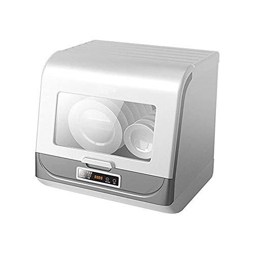 LKNJLL Lave-vaisselle Portable Countertop, Programmes de lavage, intégré 5 litres Réservoir d'eau, Cyclone 3D pulvérisation, fruits et légumes de nettoyage avec panier, haute température, l'air de séc