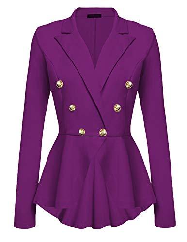 Cekaso Women's Peplum Blazer One Button Crop Frill Ruffle Hem High Low Work Blazer, Purple, USsize XL=Tagsize 3XL