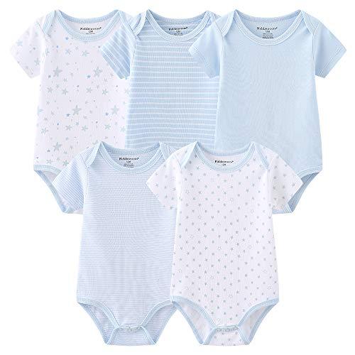 TONE Body niemowlęce body z krótkim rękawem kamizelki dla niemowląt śpioszki dla noworodków chłopców i dziewcząt 0-3 m/3-6 m/6-9 m/9-12 m bawełna, 5-pak