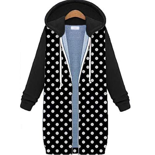 Women Warm Open Front Zipper Hoodies Polka Dot Print Fleece Cloak Coat Jacket Sweatshirt Long Coat Tops Outwear Black
