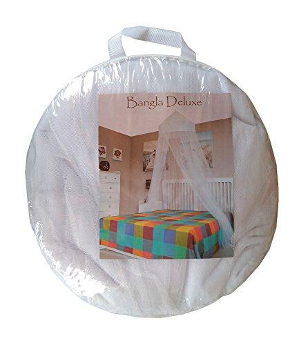 MosquitoHouse Mosquitera para camas de 135 cm de ancho, un solo punto de sujeción y aro pop out para su fácil transporte y almacenamiento. Medidas 65x250x1.250 cm. Corona de algodón y color blanco.