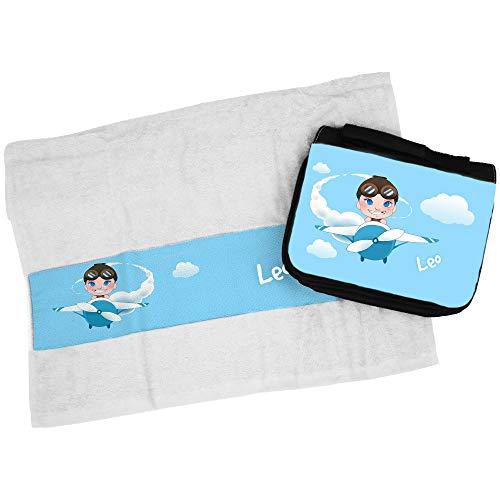 Eurofoto Handtuch + Kulturbeutel Set mit Namen Leo und Piloten-Motiv für Jungen | Handtuch und Kulturbeutel Bedruckt |