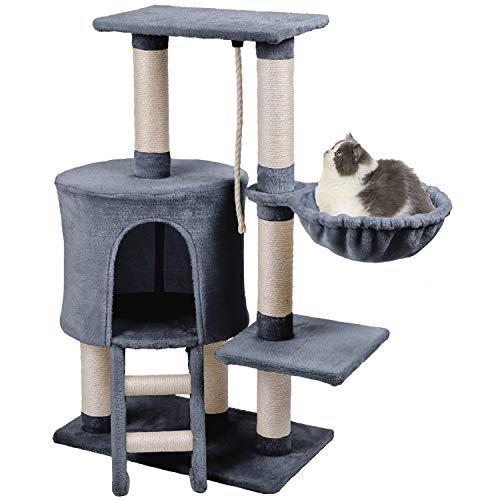 Wellhome Kratzbaum Katzen Kletterbaum mit Spielsisal und Hängematte Mittelhoch 96cm Grau