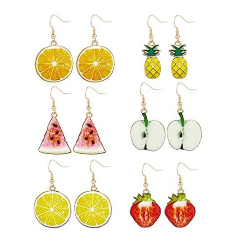 Daimay Juego de 6 pares de pendientes de resina con diseño de fruta, acrílico sandía, naranja, manzana, fresa, pendientes colgantes y colgantes creativos, únicos para mujeres y niñas