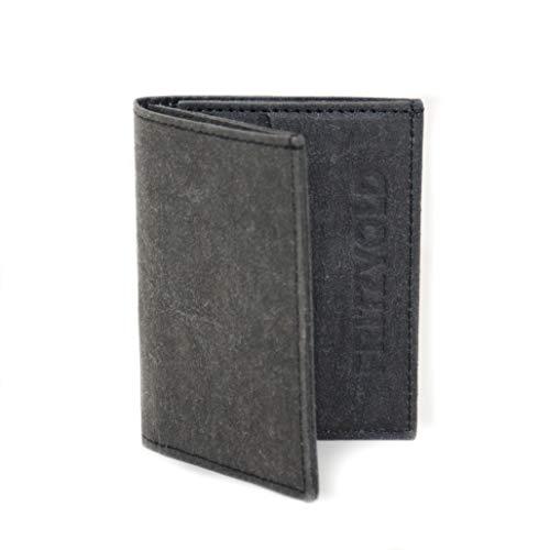 FRITZVOLD Tiny Wallet mit RFID-Schutz & Münzfach, extrem kleines, dünnes Portemonnaie für Herren & Damen, Slim Wallet, flaches Mini-Portmonee, Geldbeutel aus Papier-Kunstleder, schwarz