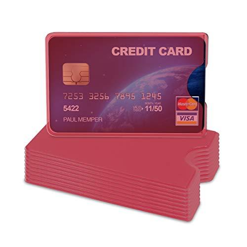 kwmobile Set 10 custodie protettive per tessere - Portacarte portatessere per carta di credito tessera sanitaria patente bancomat - rosso